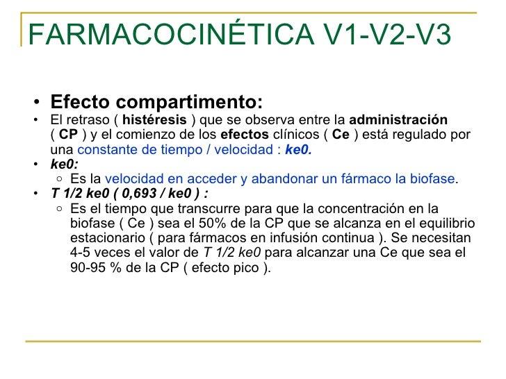 FARMACOCINÉTICA V1-V2-V3 <ul><ul><li>Efecto compartimento: </li></ul></ul><ul><ul><li>El retraso (  histéresis  ) que se o...