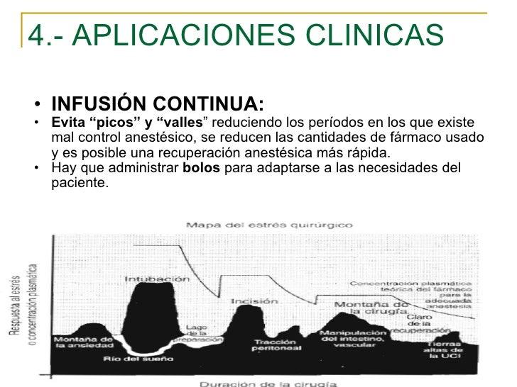 """4.- APLICACIONES CLINICAS <ul><ul><li>INFUSIÓN CONTINUA: </li></ul></ul><ul><ul><li>Evita """"picos"""" y """"valles """" reduciendo l..."""