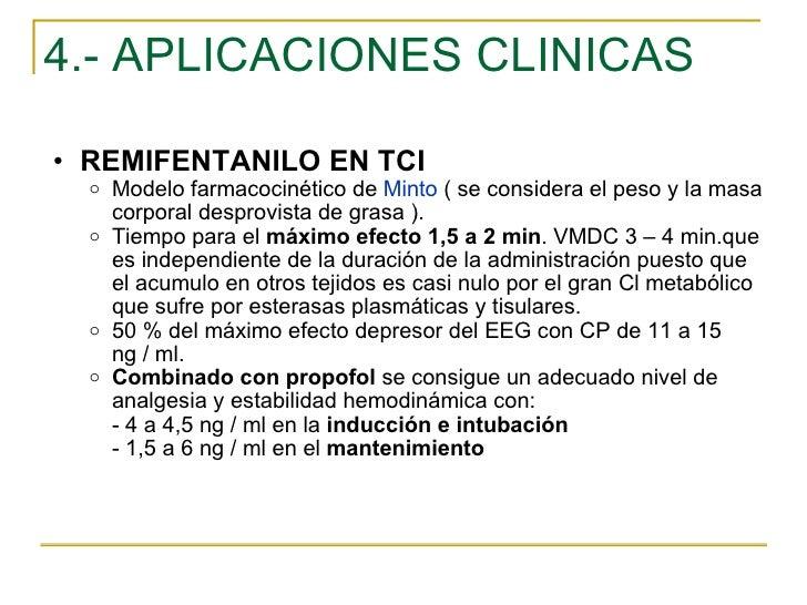 4.- APLICACIONES CLINICAS <ul><ul><li>REMIFENTANILO EN TCI </li></ul></ul><ul><ul><ul><li>Modelo farmacocinético de  Minto...