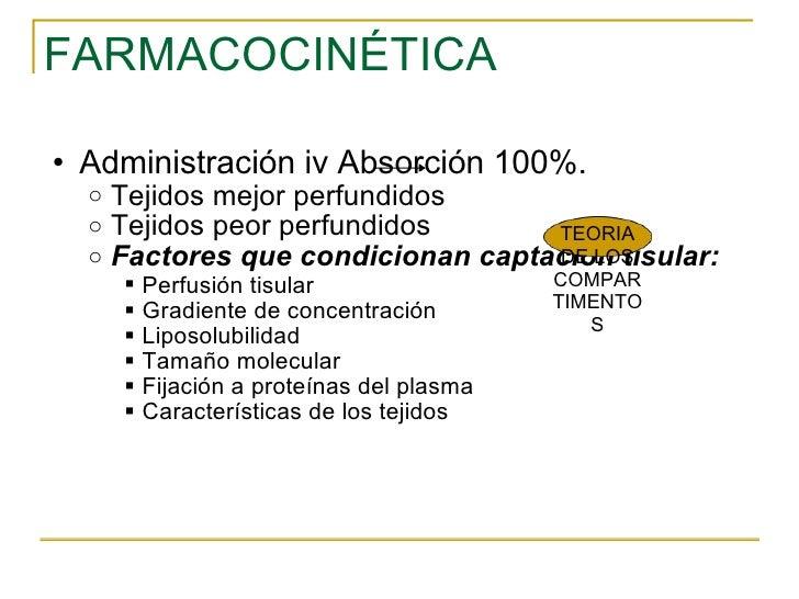 FARMACOCINÉTICA <ul><ul><li>Administración iv Absorción 100%. </li></ul></ul><ul><ul><ul><li>Tejidos mejor perfundidos  </...