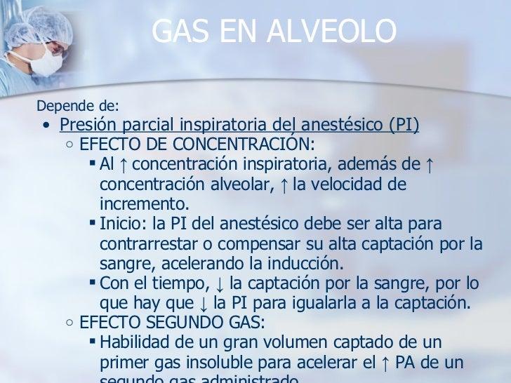 GAS EN ALVEOLO <ul><li>Depende de: </li></ul><ul><ul><li>Presión parcial inspiratoria del anestésico (PI) </li></ul></ul><...