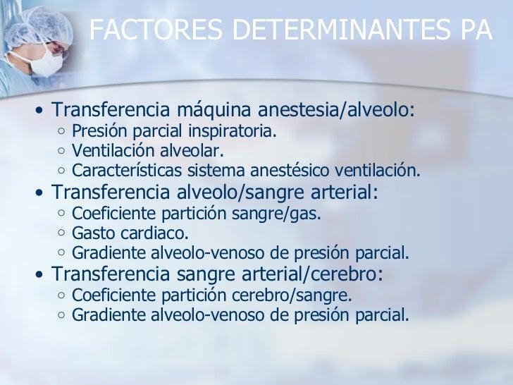 FACTORES DETERMINANTES PA <ul><ul><li>Transferencia máquina anestesia/alveolo: </li></ul></ul><ul><ul><ul><li>Presión parc...