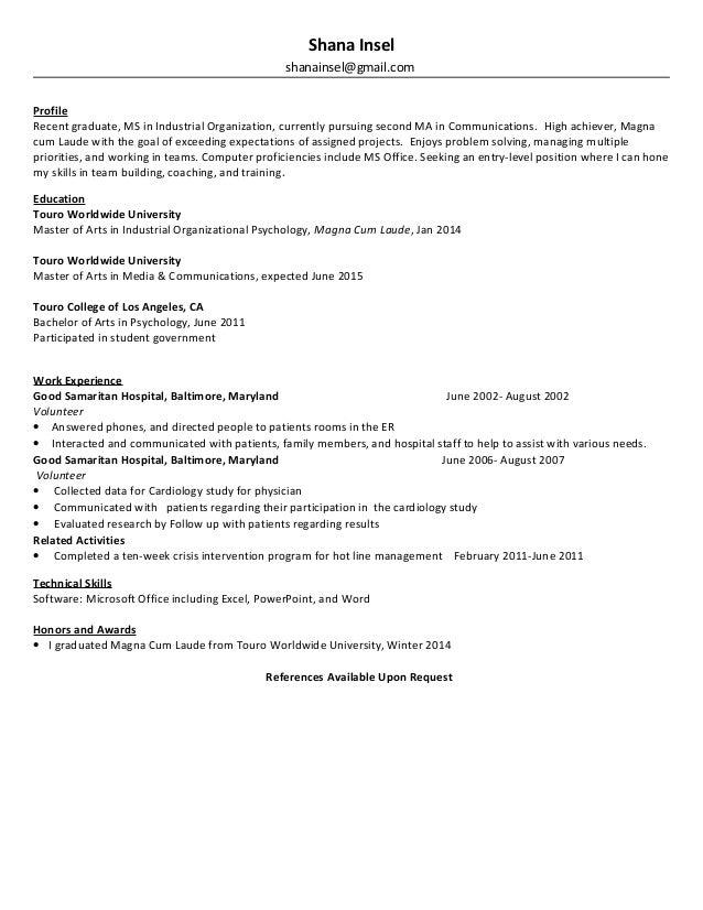 Magna Cum Laude Resume.Shana I Resume