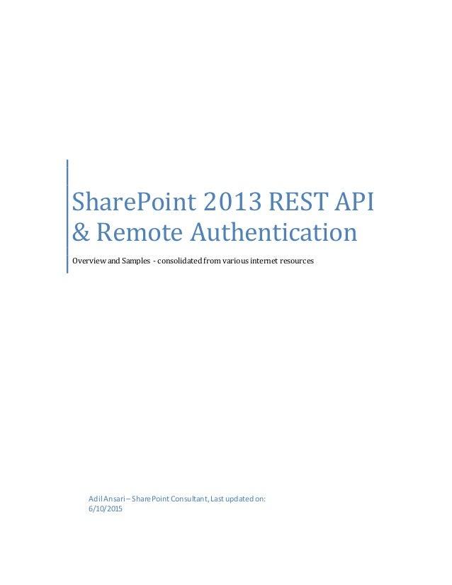 SharePoint 2013 REST API & Remote Authentication