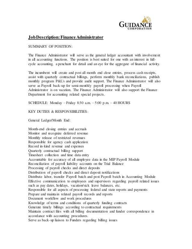 Finance Administrator Job Description