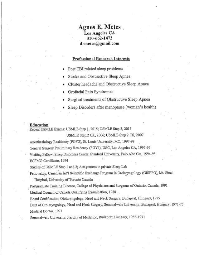 Dr. Agnes Metes CV