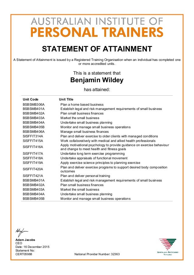 Certificate Iv In Fitness Sis40210 Aipt Transcript P1 And 2