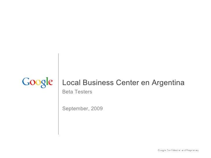 Local Business Center en Argentina Beta Testers September, 2009