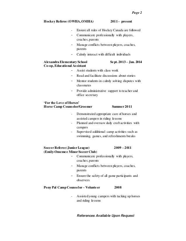 resume referee