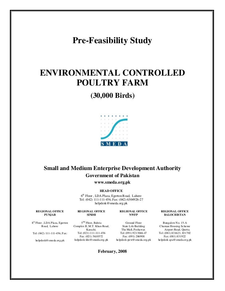 Pre-Feasibility Study      ENVIRONMENTAL CONTROLLED            POULTRY FARM                                             (3...