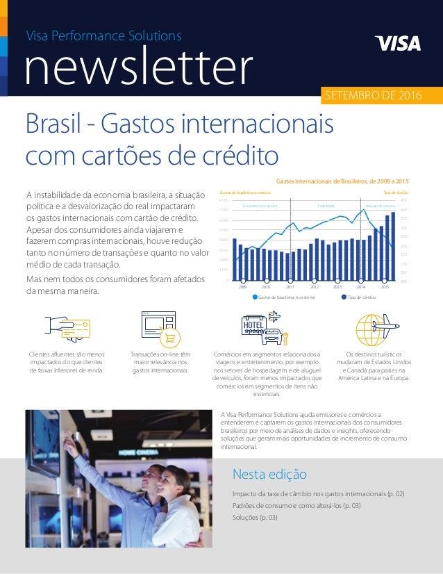 Brasil - Gastos internacionais com cartões de crédito Impacto da taxa de câmbio nos gastos internacionais (p. 02) Padrões ...