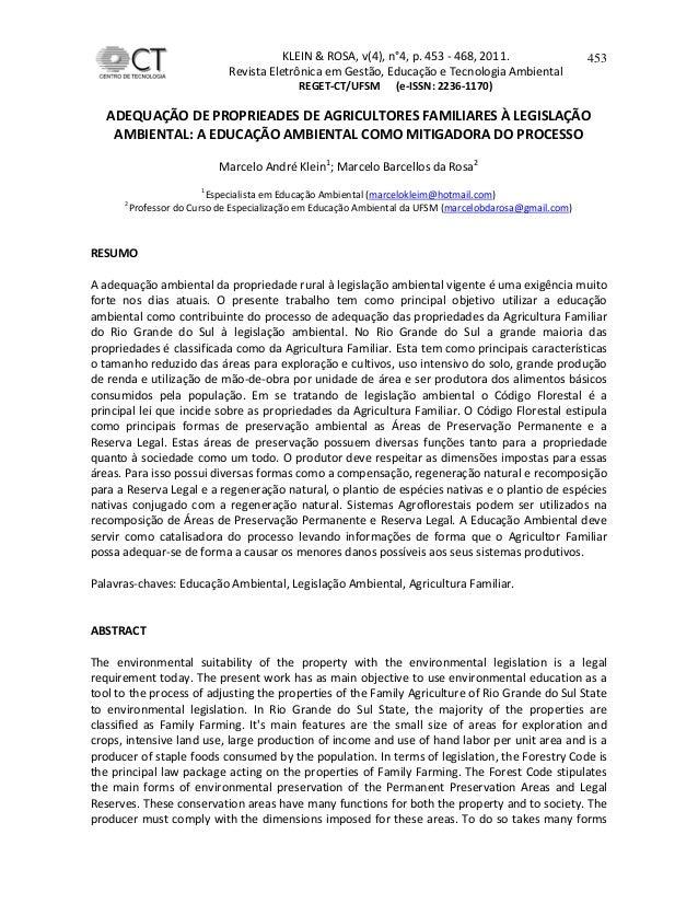 KLEIN & ROSA, v(4), n°4, p. 453 - 468, 2011.Revista Eletrônica em Gestão, Educação e Tecnologia AmbientalREGET-CT/UFSM (e-...