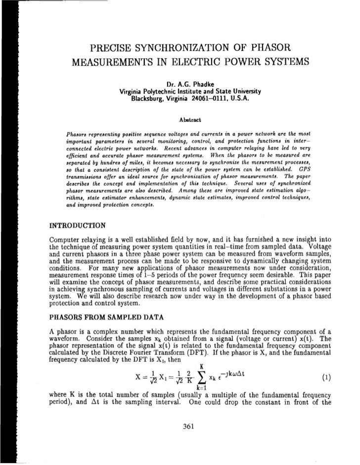 II            PRECISE SYNCHRONIZATION OF PHASOR           MEASUREMENTS IN ELECTRIC POWER SYSTEMS                          ...