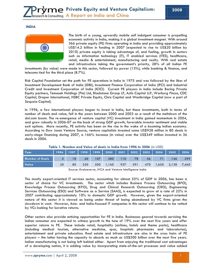 Private Equity and Venture Capitalism:                                 2008                             A Report on India ...