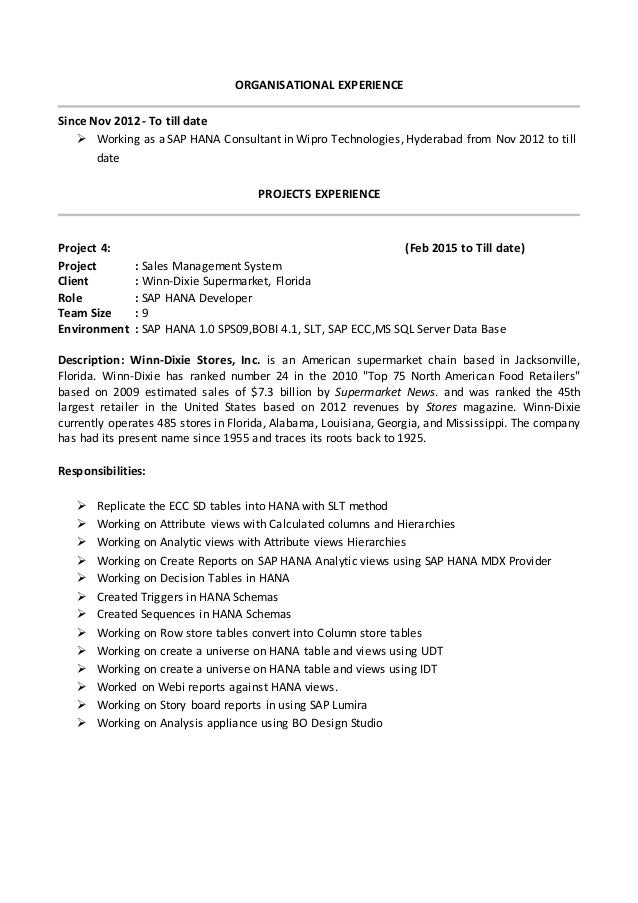management 3 enjoyable design ideas sap hana resume 8 sap
