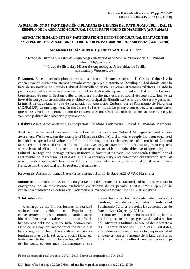 Revista Atlántica-Mediterránea 17, pp. 235-242 BIBLID [11-38-9435 (2015) 17, 1-290] Fecha de recepción del artículo: 30-VI...