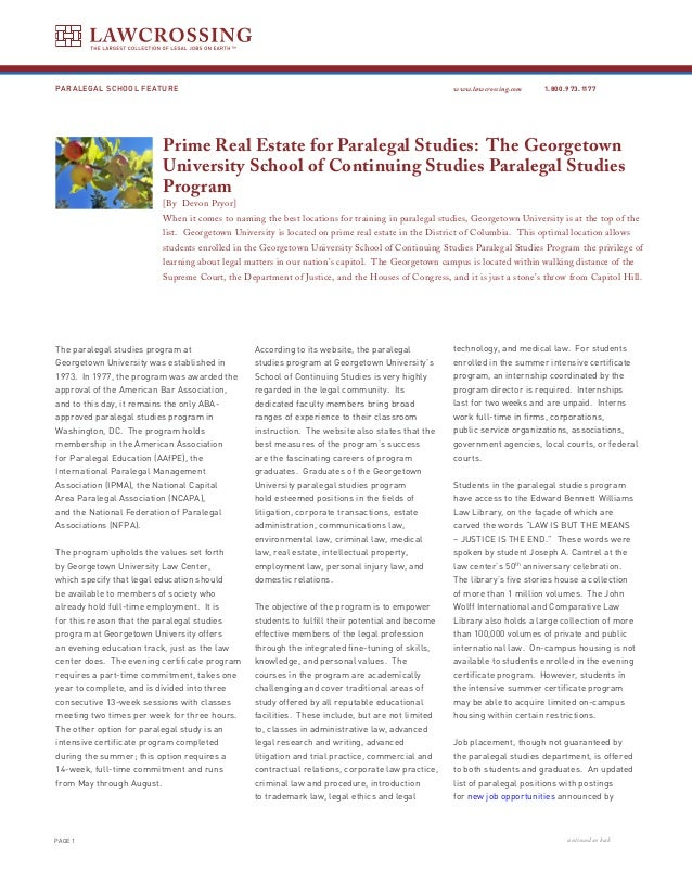 Prime Real Estate For Paralegal Studies The Georgetown University Sc