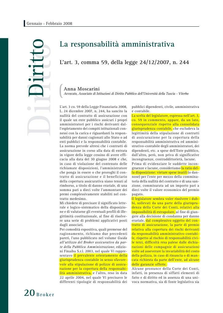 Gennaio > Febbraio 2008        Diritto  Diritto         La responsabilità amministrativa                   L'art. 3, comma...