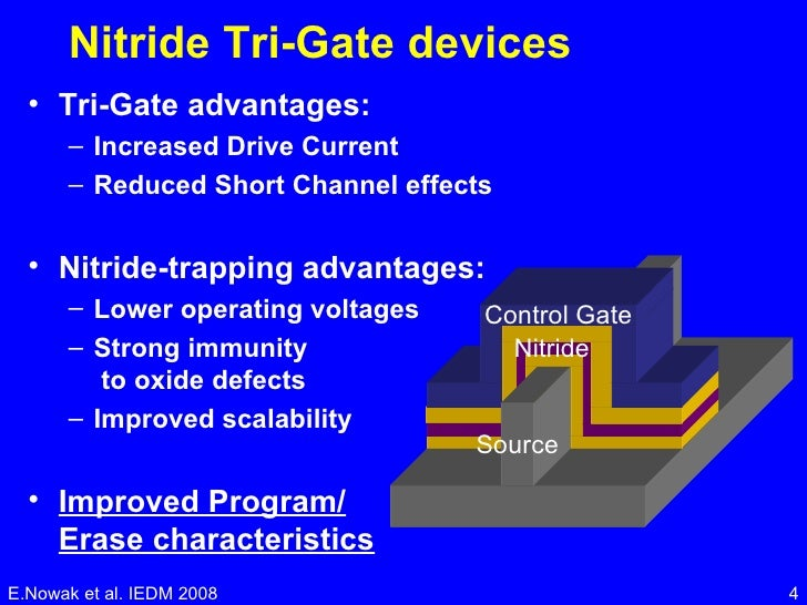 Nitride Tri-Gate devices <ul><li>Tri-Gate advantages: </li></ul><ul><ul><li>Increased Drive Current  </li></ul></ul><ul><u...
