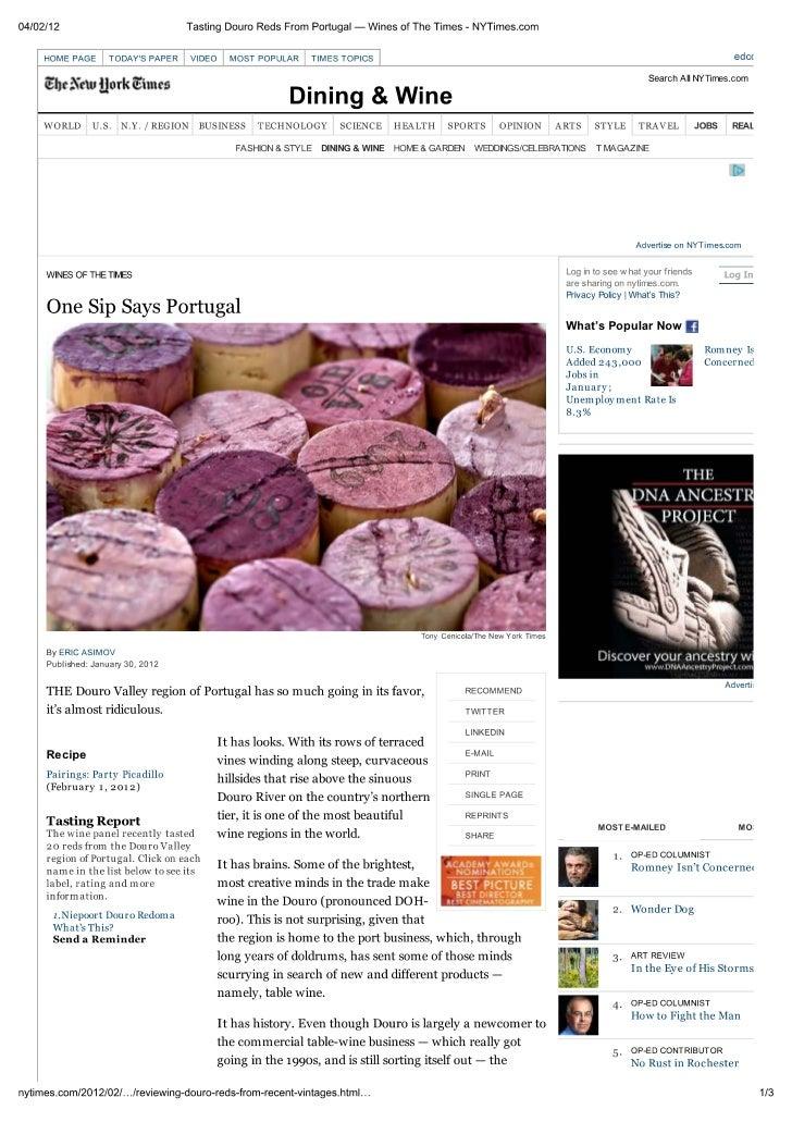 Desconhecer o Douro é «quase ridículo», diz NYTimes  Ny Times