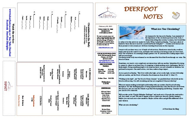 DEERFOOT DEERFOOT DEERFOOT DEERFOOT NOTES NOTES NOTES NOTES February 28, 2021 WELCOME TO THE DEERFOOT CONGREGATION We want...