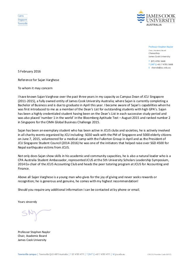 Reference Letter From Prof Naylor, Chairman Of Academic Board, Jcu