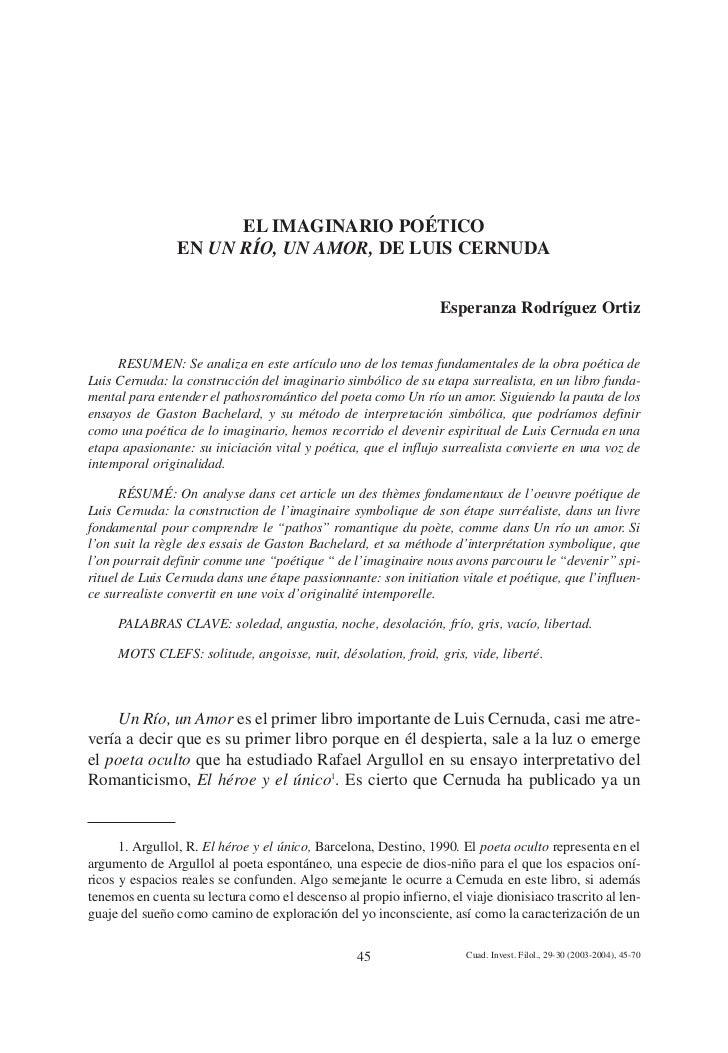 EL IMAGINARIO POÉTICO                EN UN RÍO, UN AMOR, DE LUIS CERNUDA                                                  ...