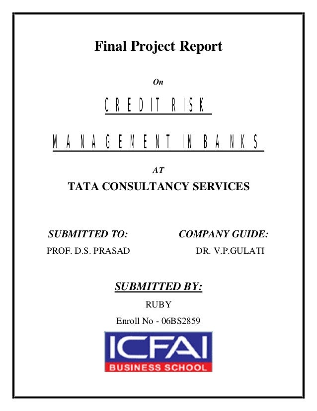 Final Project Report On CREDIT RISK MANAGEMENT IN BANKS AT TATA CONSULTANCY SERVICES SUBMITTED TO: COMPANY GUIDE: PROF. D....