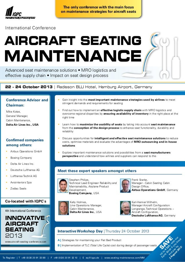 •  Gain insight into the most important maintenance strategies used by airlines to meet  stringent demands and requireme...