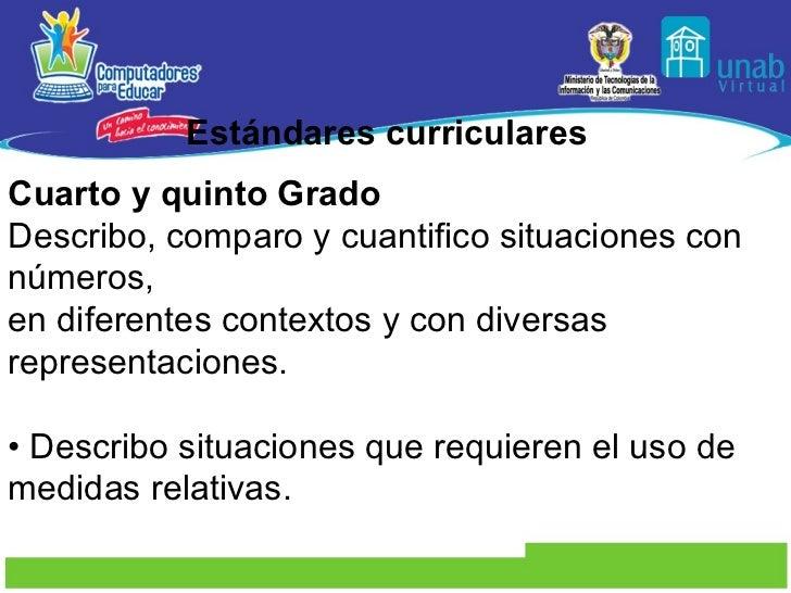 Estándares curriculares Cuarto y quinto Grado Describo, comparo y cuantifico situaciones con números, en diferentes contex...
