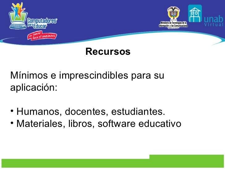 <ul><li>Recursos  </li></ul><ul><li>Mínimos e imprescindibles para su aplicación:  </li></ul><ul><li>Humanos, docentes, es...
