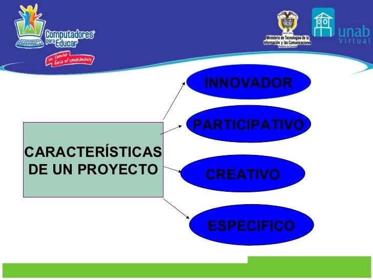 CARACTERÍSTICAS DE UN PROYECTO INNOVADOR PARTICIPATIVO CREATIVO ESPECIFICO