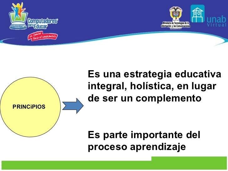 PRINCiPIOS Es una estrategia educativa integral, holística, en lugar de ser un complemento  Es parte importante d...