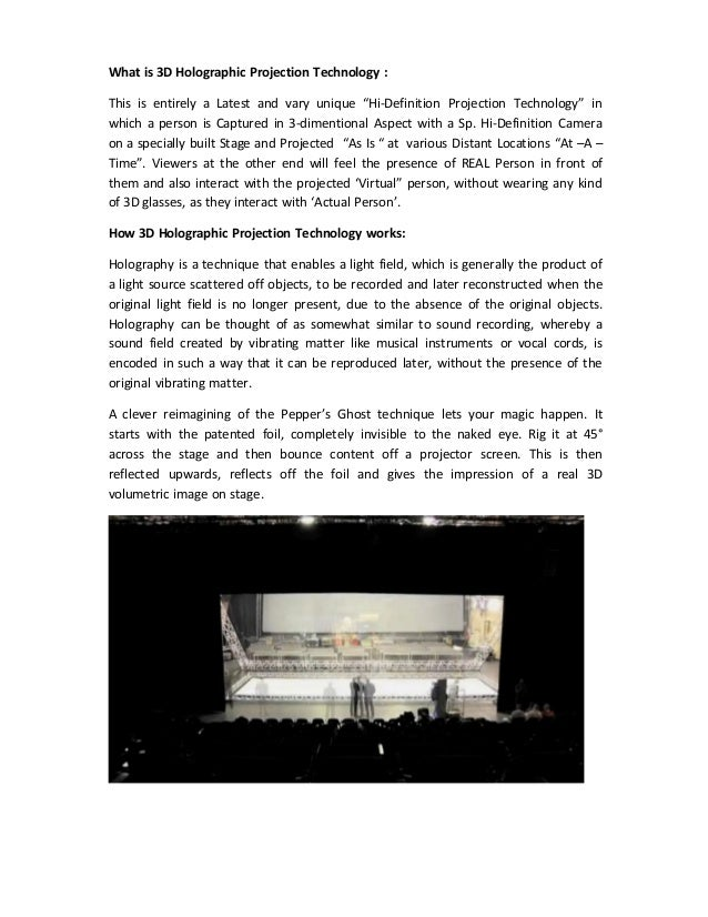 """What is 3D Holographic Projection Technology : This is entirely a Latest and vary unique """"Hi‐Definition Projection Technol..."""