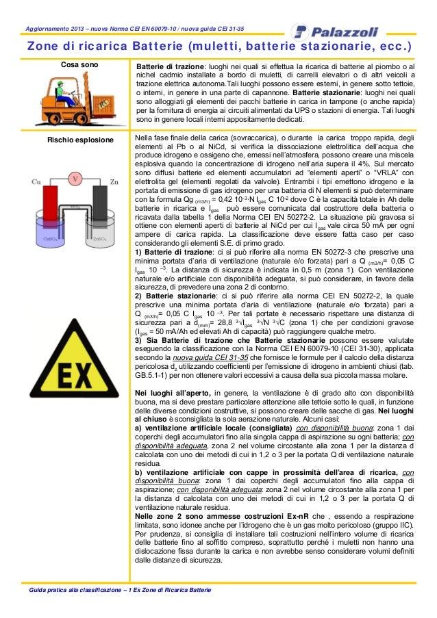 Aggiornamento 2013 – nuova Norma CEI EN 60079-10 / nuova guida CEI 31-35 Guida pratica alla classificazione – 1 Ex Zone di...