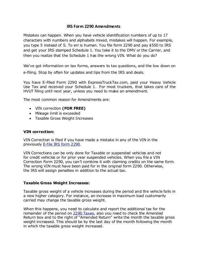 2290 form questions  11 vin correction