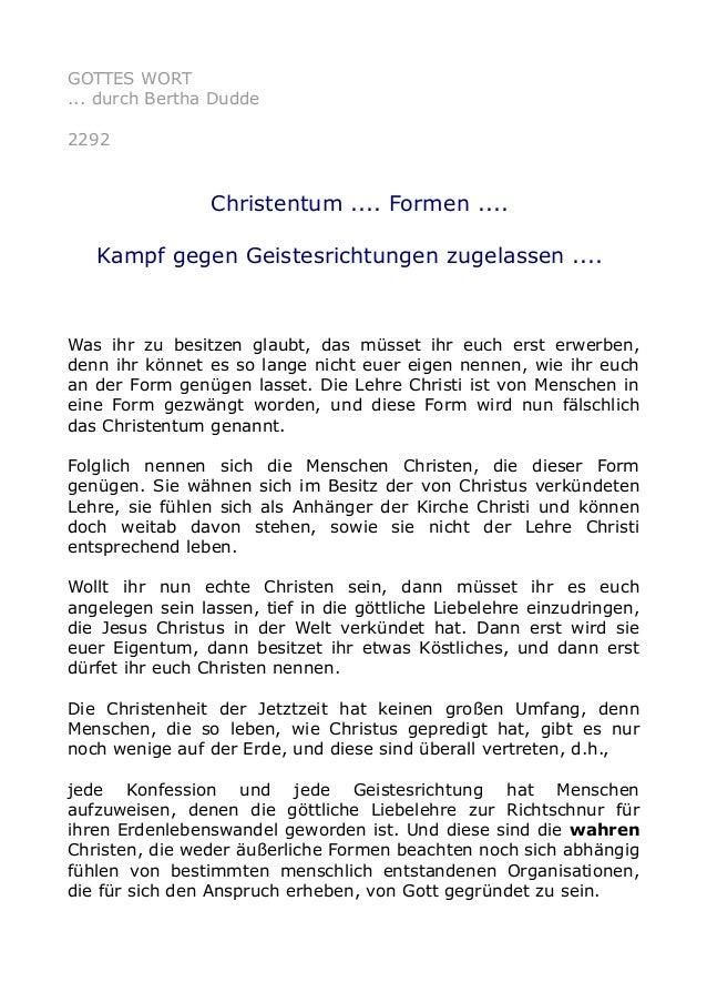 GOTTES WORT ... durch Bertha Dudde 2292 Christentum .... Formen .... Kampf gegen Geistesrichtungen zugelassen .... Was ihr...