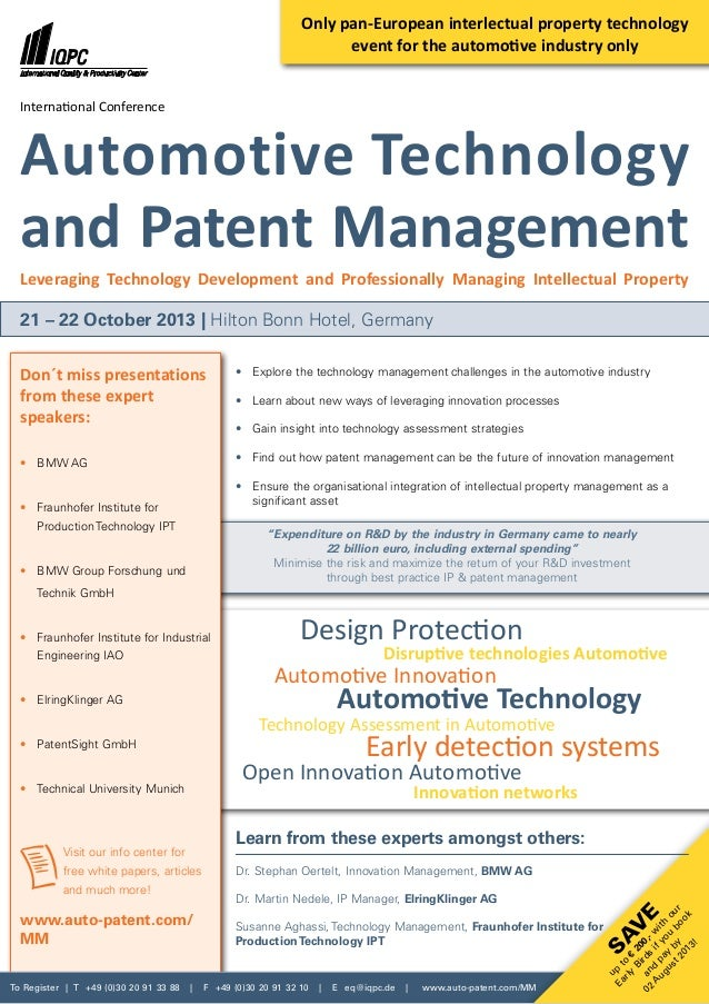 To Register | T +49 (0)30 20 91 33 88 | F +49 (0)30 20 91 32 10 | E eq@iqpc.de | www.auto-patent.com/MM Sav e up to € 200,...