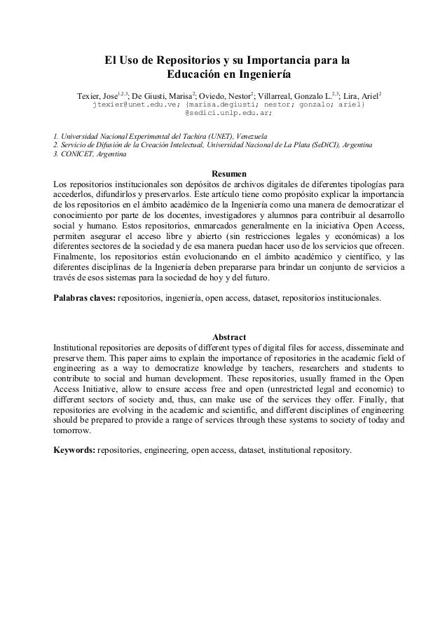 El Uso de Repositorios y su Importancia para la Educación en Ingeniería Texier, Jose1,2,3 ; De Giusti, Marisa2 ; Oviedo, N...