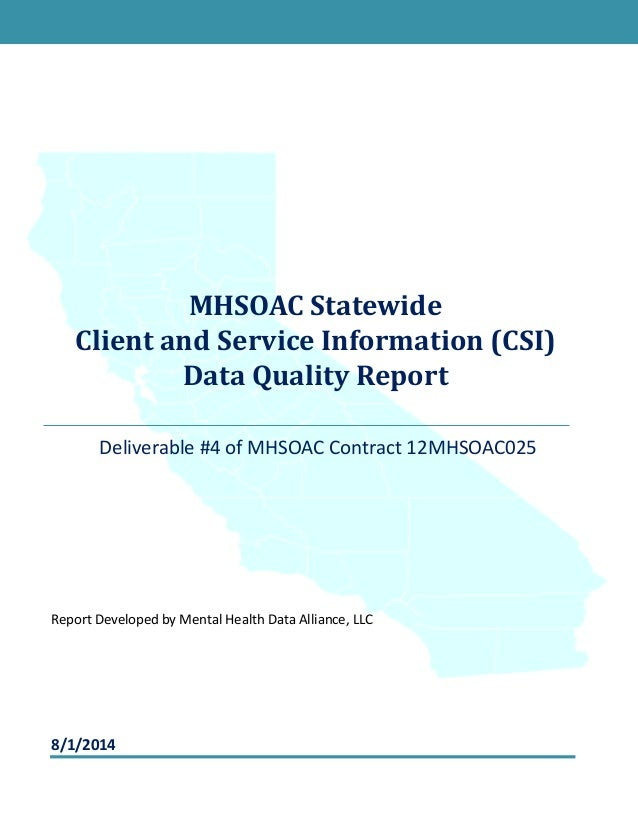 Technology Management Image: Statewide CSI Data Quality Report