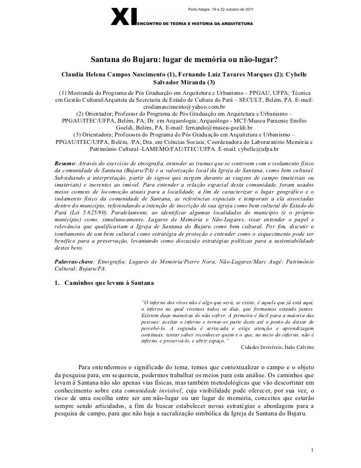 Santana do Bujaru: lugar de memória ou não-lugar?  Claudia Helena Campos Nascimento (1), Fernando Luiz Tavares Marques (2)...