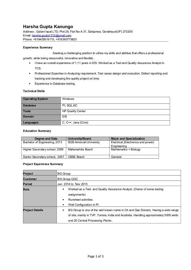 harsha gupta kanungo resume test and quality assurance