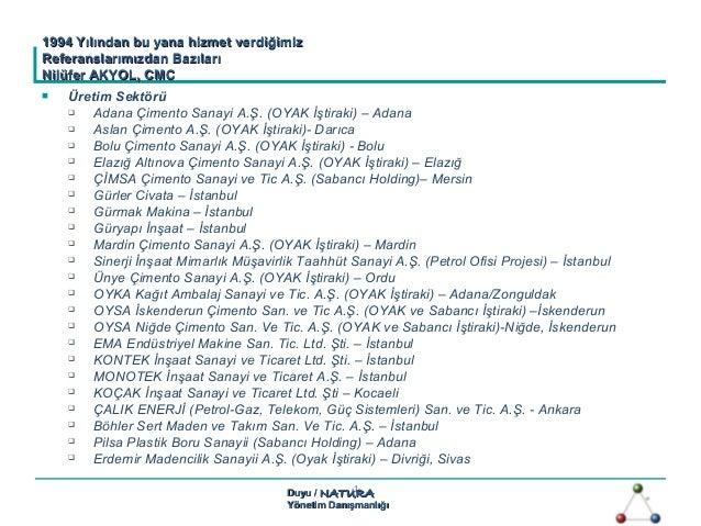 Duyu /Duyu / NATURANATURA Yönetim DanışmanlığıYönetim Danışmanlığı -1-  Üretim Sektörü  Adana Çimento Sanayi A.Ş. (OYAK ...