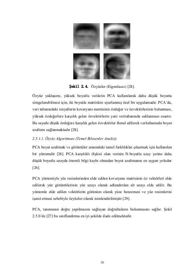 18 Şekil 2.4. Özyüzler (Eigenfaces) [28]. Özyüz yaklaşımı, yüksek boyutlu verilerin PCA kullanılarak daha düşük boyutta si...
