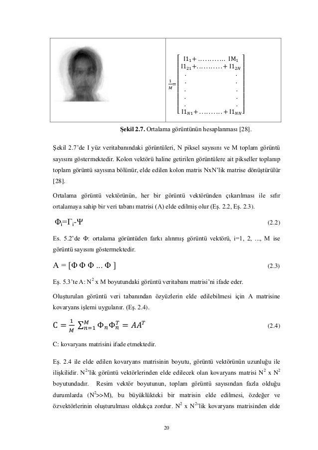 20 = [ ] Şekil 2.7. Ortalama görüntünün hesaplanması [28]. Şekil 2.7'de I yüz veritabanındaki görüntüleri, N piksel sayısı...