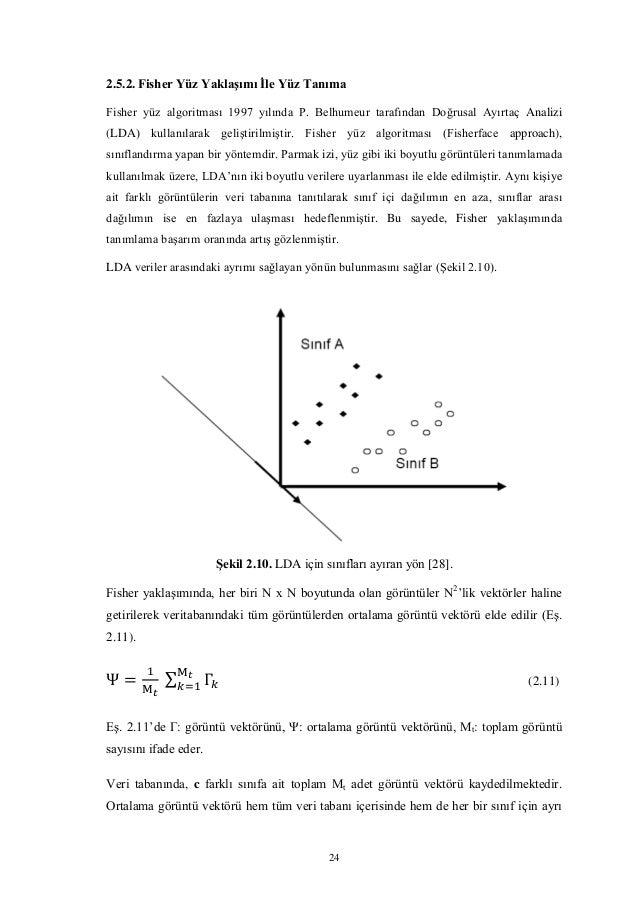 24 2.5.2. Fisher Yüz Yaklaşımı İle Yüz Tanıma Fisher yüz algoritması 1997 yılında P. Belhumeur tarafından Doğrusal Ayırtaç...