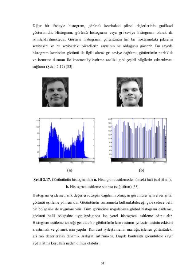 31 Diğer bir ifadeyle histogram, görüntü üzerindeki piksel değerlerinin grafiksel gösterimidir. Histogram, görüntü histogr...