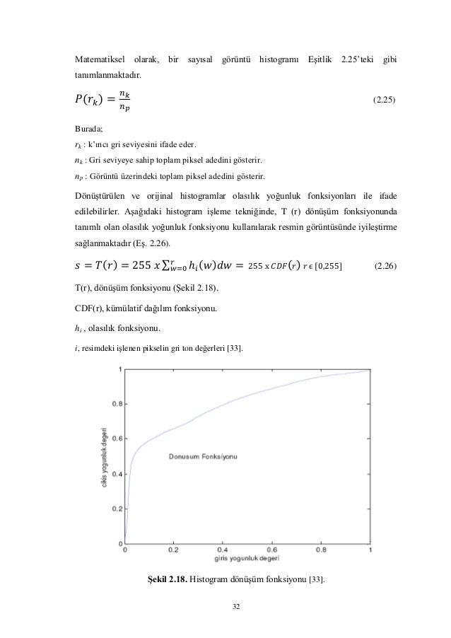 32 Matematiksel olarak, bir sayısal görüntü histogramı Eşitlik 2.25'teki gibi tanımlanmaktadır. (2.25) Burada; rk : k'ıncı...