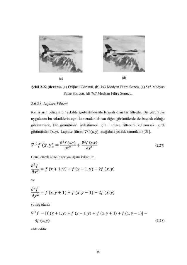 38 (c) (d) Şekil 2.22 (devam). (a) Orijinal Görüntü, (b) 3x3 Medyan Filtre Soncu, (c) 5x5 Medyan Filtre Sonucu, (d) 7x7 Me...