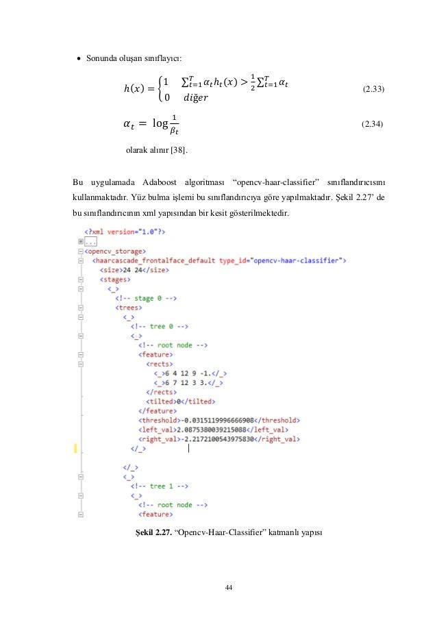 """44  Sonunda oluşan sınıflayıcı: { ∑ ∑ (2.33) (2.34) olarak alınır [38]. Bu uygulamada Adaboost algoritması """"opencv-haar-c..."""